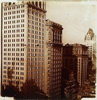 USA New York City Gratte-Ciel Building, Photo Stereo Plaque Verreca 1910