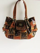 Sharif Gorgeous New Multi-Color Patchwork Print Patent Leather Large Tote Bag