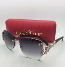 New CAVIAR Sunglasses M 6855 C.55 58-16 135 Rose Gold & Black Rimless w/Crystals