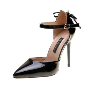 Womens Shiny Leather Ankle Buckle Strappy Pumps Kitten Heels Shoes Date Sandals