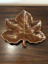 """Pottery Barn Brown Harvest Maple Leaf Plate Dish 10"""" Fall Thanksgiving Decor"""