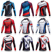 Men's Long Sleeve Cycle Jersey Full Zip Bike Bicycle Cycling Jersey Shirts S-5XL