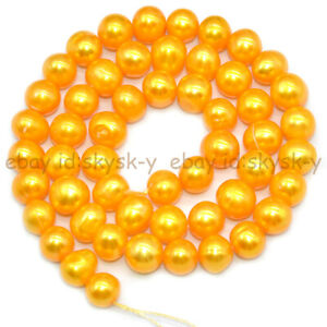 Golden 7-8mm Real Natural Freshwater Cultured Baroque Pearl Loose Beads 14''