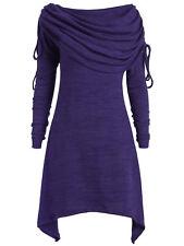 Plus Size Women'S Long Foldover Collar Ruched Tops Longline Tunic Shirtdress Tee