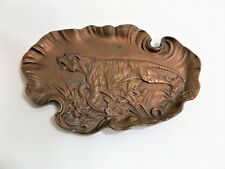 Rare 40's Vintage J. Fisher Bronze Sculpture Tiger Lion Ashtray Trinket Dish