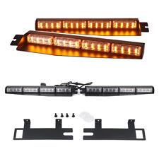 32 LED Amber Emergency Warning Visor Strobe Light Bar Dash Deck Split Signal 12V