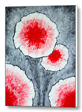 Fantasy Flowers In Red 1, 18x24 Original Abstract Acrylic Painting Large Canvas