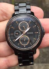 Señoras reloj correa de acero FOSSIL ES-3451 Batería nueva en él FOSSIL Tin también