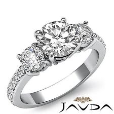1.9ct Three Stone Round Diamond Engagement Ring GIA F Color VS1 14k White Gold