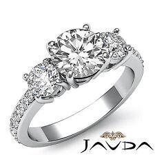 1.9ct Three Stone Round Diamond Engagement Ring GIA F Color VS1 14k White Gold