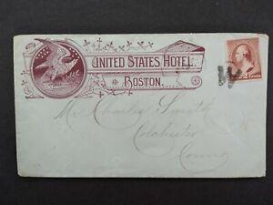 Massachusetts: Boston ca. 1885 #210 US Hotel Advertising Cover, Fancy W Cancel