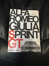 Alfa Romeo Giulia Sprint GT Instruction Handbook Manual Workshop 105 GTV Spider