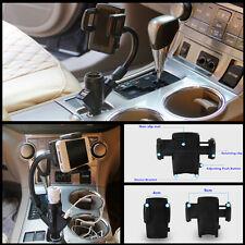 Rotation Dual USB Ports Car Cigarette Lighter Holder Mobile Phone Rotation Stand