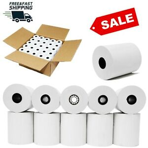 "Thermal Paper Receipt Rolls 3-1/8"" x 230' White 50 Rolls POS Cash Register Tape"