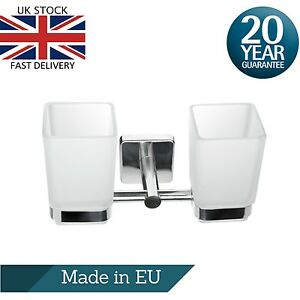 Double Square Toothbrush Holder Tumbler Wall Mount Stainless Steel Adhesive