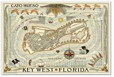LARGE Cayo Hueso Map of Vintage KEY WEST Florida Travel Print Poster circa 1940