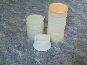 "Vintage Tupperware 882 Hamburger Patty Press Set 16 Keeper 1 Press 2 Lids  4"""
