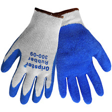 GRIPSTER Palm Dipped Blue Rubber Work Gloves, Sz:Lrg, Dozen/Listing, 300-9(L)