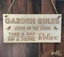 Garden Rules Quote Wooden Plaque Sign Laser Engraved pq96