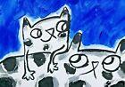"Original ACEO Cat Painting ""Needing Mama"" Miniature Art By Samantha McLean"
