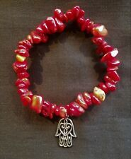 Red Coral Chip Stretch bracelet with Hamsa, Hand of Fatima Charm, Reiki Blessed!