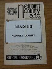 20/08/1960 Newport County v Reading  (punched holes, team changes, folded)