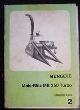 Mengele Maisblitz MB 350 Turbo Ersatzteilliste