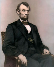 "PRESIDENT ABRAHAM LINCOLN 1864 CIVIL WAR 8x10"" HAND COLOR TINTED PHOTOGRAPH"