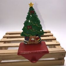 Stocking Holder Hanger Solid Cast Iron Enesco Christmas Tree Teddy Bear Gifts