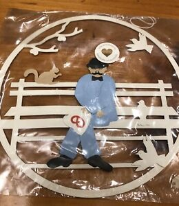 Vintage Oda Wiedbrecht Denmark Hanging Paper Cut Mobile Man On Bench