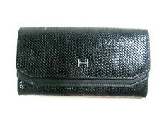 Halston Madeline Womens Wallet Flap Clutch June Fold Over Black Woven