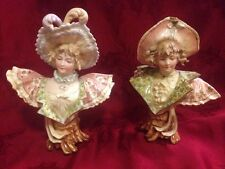 Rudolstadt Pair Victorian Lady & Man Porcelain Busts Rare!