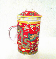 Chinese Porcelain Tea Cup Coffee Mug with Lid & filter in Red Dragon design