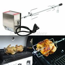 Stainless Steel 4W Rotisserie BBQ Grill Roaster Spit Rod Camping Charcoal Kit
