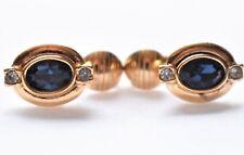 Avon Blue Rhinestone Oval Earrings Delicate Dainty Minimalist Costume Jewelry