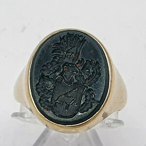 A142# Herren Siegel Wappen Ring G - Gold 585 Gr.53 Heliotrop