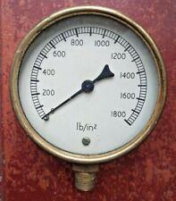 VINTAGE BRASS PRESSURE GAUGE - Steampunk Meter Old 10.5cm x 8cm x 3cm