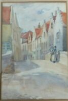 Antique Old Original Watercolour Painting  of a town scene.