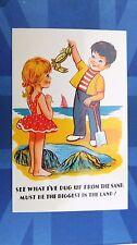 Comic Postcard 1960s CRAB Fishing Beach Rock Pools Theme