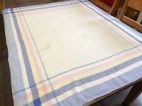 "Tablecloth w/ Blue Pink Yellow Plaid Edge; Vintage 1940's 44"" x 55"" (RF940)"