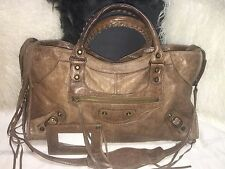 Authentic Balenciaga Charbon Brown Part Time bag with Classic Hardware City