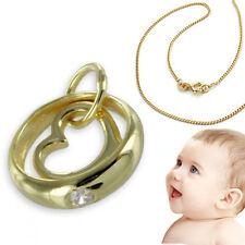 14 Kt Baby Memoire Zirkonia Taufring Echt Gold 585 Gelbgold mit AMD Kette Neu