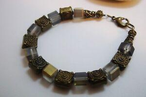 Handmade Bohemian Czech Crystal And Brass Beaded Bracelet.