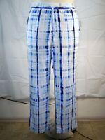 New Women's Ralph Lauren Blue White Wide Leg Elastic Waist Boyfriend Pants SZ 12