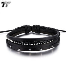 Quality TT Black Genuine Leather Bracelet Wristband (LB307D) NEW