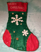 Vintage Large Felt Merry Christmas Stocking Red Green White Snowflakes Buttons