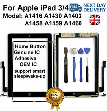 For iPad 3 Touch Screen Replacement Digitizer Black Button IC A1416 A1430 A1403