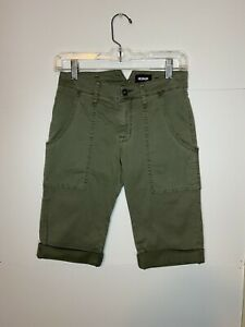 NWT Hudson Womens Mid Rise Leverage Cargo Shorts Green Cotton Bermuda Sz. 24 NEW