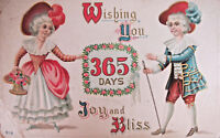 New Years Wishes 365 Days Joy Bliss Embossed 1907 Postcard
