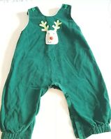 Mary James  Longall Corduroy Romper Outfit Green Rudolf  Size 24M 24 Months